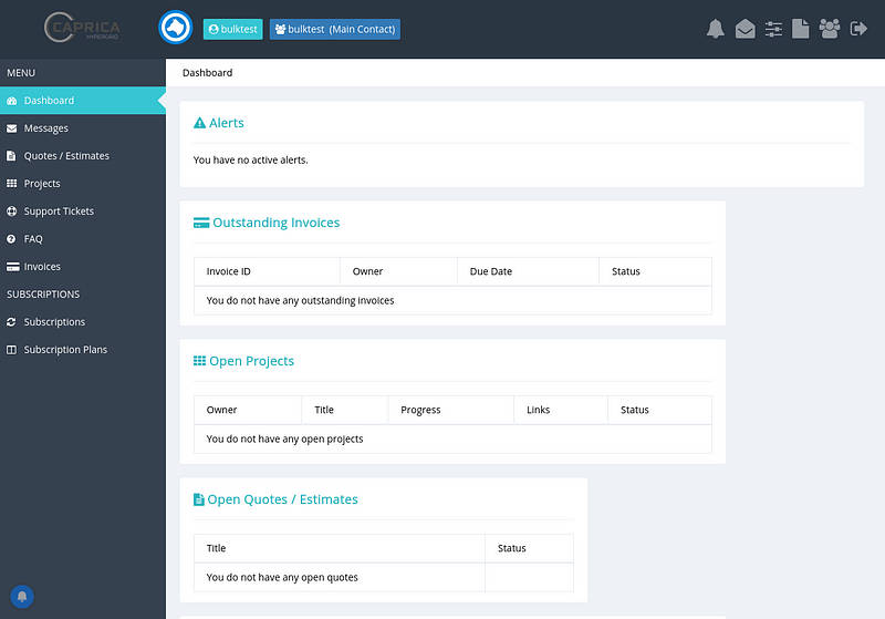Caprica Hypergrid Client Dashboard